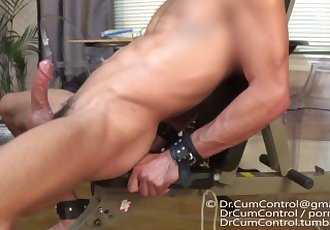 Hunk is edged and cums three..