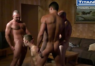 Orgy with 3 Dads and Younger Guy